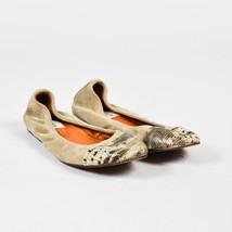 Lanvin Beige Suede Embossed Snakeskin Cap Toe Flats - $130.00