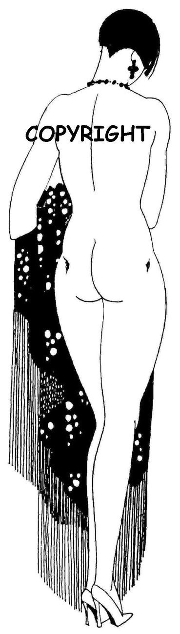 NUDE LADY WITH FRINGED SHAWL mounted rubber stamp
