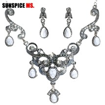 SUNSPICE MS Retro Silver Color Earring Necklace Sets For Women Ethnic We... - $18.80