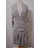 MALANDRINO Gray Bias Cut Dolman Sleeve Ruched Low Sexy Dress NWOT 42 - $449.99
