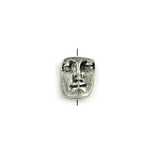 FACE VERTICAL OR HORIZONTAL BEAD FINE PEWTER BEAD - 10x13x8mm, Hole: 2mm