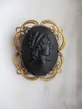 Vintage Gold Tone Black Cameo Pin or Brooch - $20.00