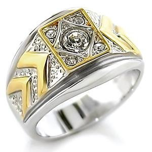 Clear Austrian Crystal , Two Tone Band Ring