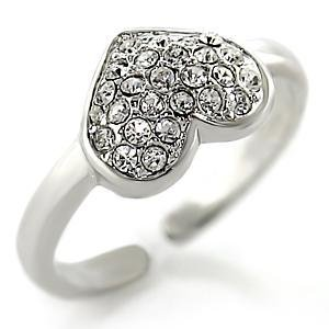 Silver Tone Clear Crystal Heart Ring