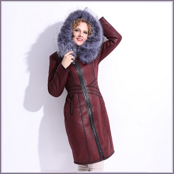 Silver Russian Fox Fur Hooded Collar Long Sleeves Plush Lined Faux Leather Coat