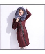 Silver Russian Fox Fur Hooded Collar Long Sleeves Plush Lined Faux Leath... - $468.98