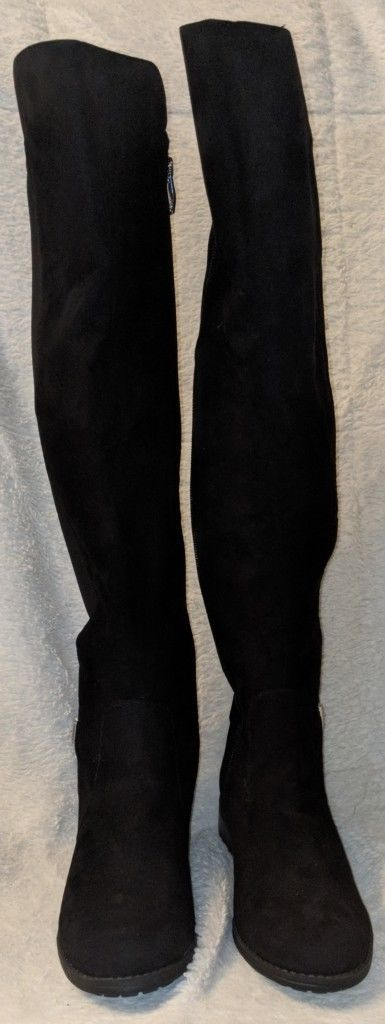 Liz Claiborne Polly Microsuede Black Over The Knee Boots