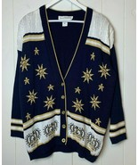 Norton McNaughton Vintage Cardigan Sweater Womens Medium Navy Gold Stars... - $49.45