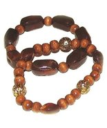 2 Bracelet Set Woodsy Shades of Brown & Gold Tone Filigree Beads Casual ... - $9.99