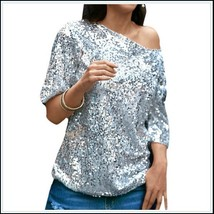 Silver Sparkling Sequined Shimmer Short Sleeve Off Shoulder Tank Tee Shirt Top