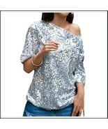 Silver Sparkling Sequined Shimmer Short Sleeve Off Shoulder Tank Tee Shi... - $63.95