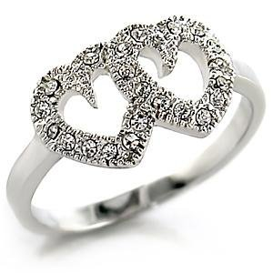 Clear Premium Austrian Crystal Double Hearts Ring