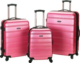 Rockland Melbourne 3 Piece Luggage Set $480 - NEW - FREE SHIPPING - in Pink - $184.09