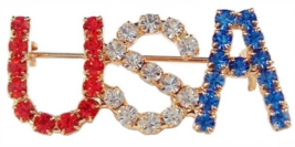 USA Word Pin Brooch Crystal Red White Blue Gold Tone Metal Patriotic - $16.99
