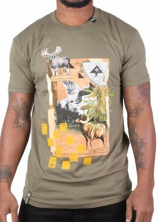 LRG Homme Soulevé Montagne Militaire Vert Sur Haut Sol Weed Slim Fit T-Shirt Nwt