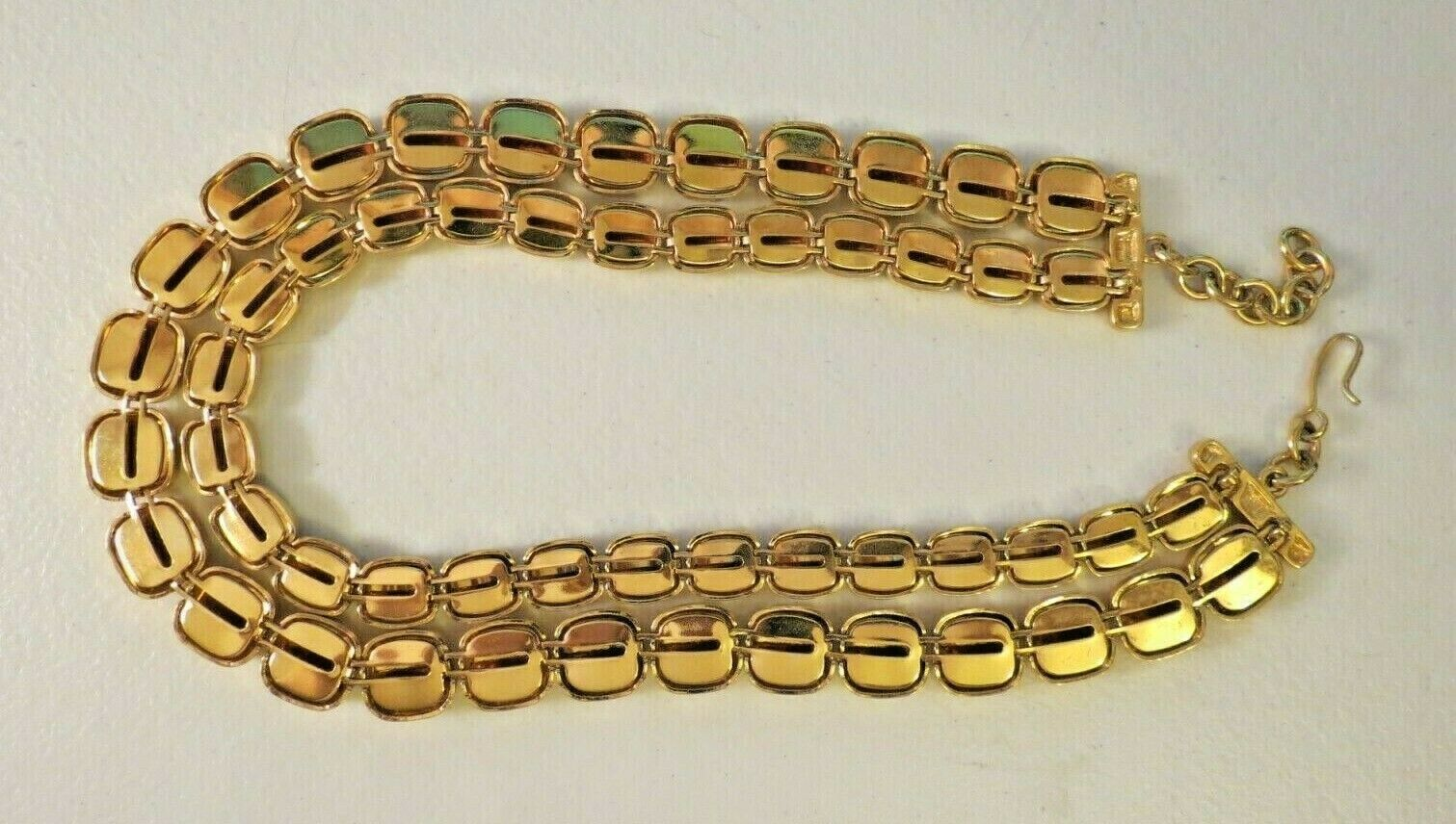 """Monet Necklace Gold Plated Double Links 17"""" Designer Square Hammered NICE image 8"""