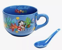 Disney Lilo And Stitch Tropical Aloha 29 oz. Ceramic Soup Mug & Ladle Se... - $32.17