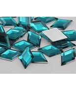 18x11mm Flat Back Diamond Acrylic Gems Pro Grade - 35 Pieces (Blue Aqua ... - $5.64