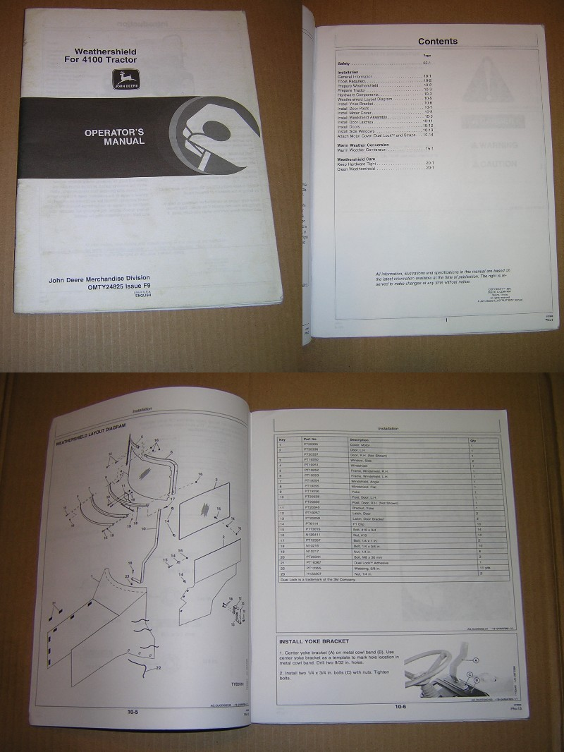 John Deere Weathershield for 4100 Tractor Operator's Manual