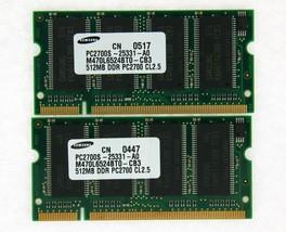 1GB (2x512MB) DDR-333 PC2700 Laptop (Sodimm) Memory Ram Kit 200-pin Tested - $12.63