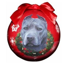 PITBULL PIT BULL BLUE CHRISTMAS BALL ORNAMENT DOG HOLIDAY PET LOVERS GIFT - $9.95
