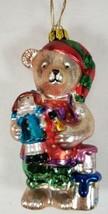 Blown Glass Christmas Ornament BEAR ELF TOYMAKER ARTIST by BK - $9.99
