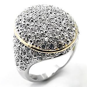 Clear Premium Austrian Crystal Two Tone Cocktail Pave Band Ring, Size  9