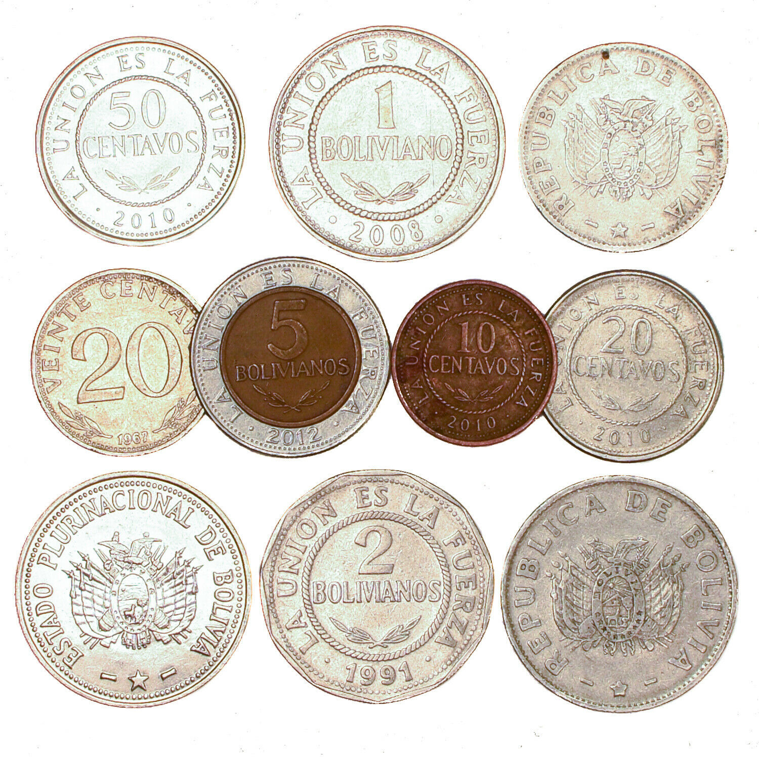 BOLIVIA COINS, SOUTH AMERICA 10 CENTAVOS - 5 BOLIVIANOS OLD COLLECTIBLE COINS