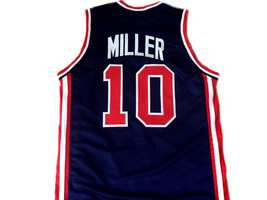 Reggie Miller #10 Team USA Men Basketball Jersey Navy Blue Any Size image 5