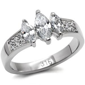 Stainless Steel Lady's Marquise Clear CZ Engagement Ring
