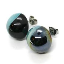 Earrings Antica Murrina Venezia OR383A07, Audrey, half Sphere, Light Blue Black image 2