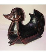 Vintage Hand Carved Finished Wood Hen Duck Decoy Weighs 8lbs Solid Wood Decor - $68.25