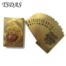 24K Gold Foil Plated Poker Playing Card With Chinese CAISHENYE God Poker... - $9.50