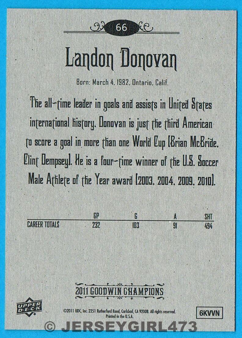 Landon Donovan 2011 Upper Deck Goodwin Champions Soccer Card #66