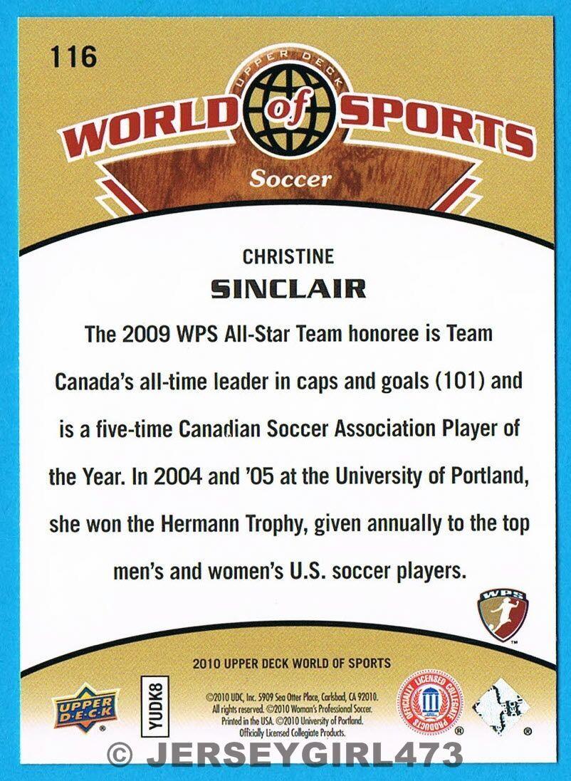Christine Sinclair 2010 Upper Deck World of Sports Portland Soccer Card #116