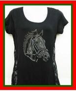 NEW  M    BLACK HORSE RHINESTONE LACE SIDE  T TEE SHIRT TUNIC TOP SHIRT ... - $25.99