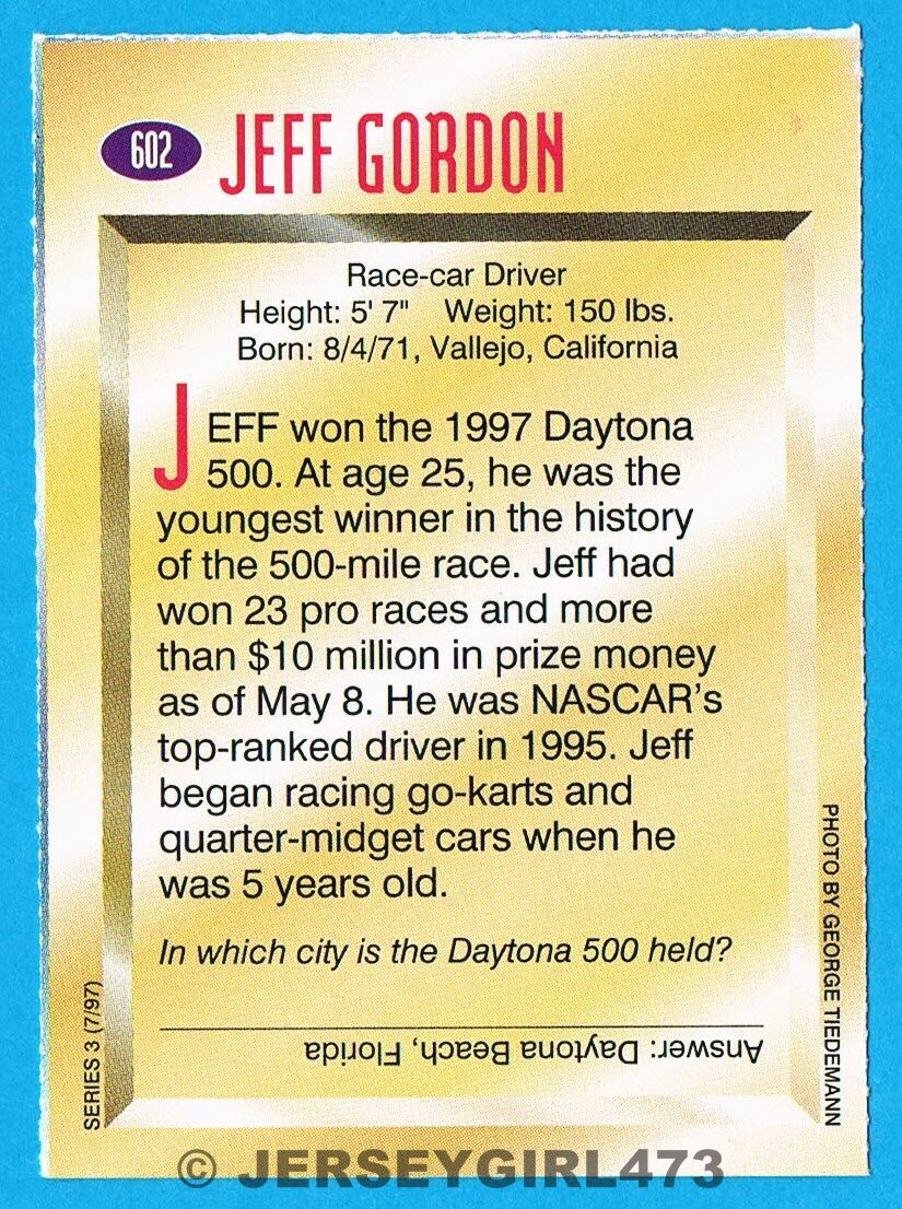 Jeff Gordon 1997 SI For Kids NASCAR Champion Racing Rookie Card #602