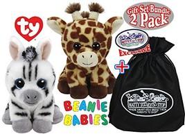 TY Beanie Babies Peaches Giraffe & Stripes Zebra Gift Set Bundle with Bo... - $20.08