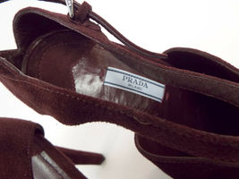 New PRADA Size 9 Burgundy Suede Open Toe Ankle Strap Heels Sandals Shoes 40 image 8