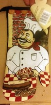 "Printed Large Oven Mitt, (7""x13"") FAT CHEF & THE BRICK OVEN #2, black ba... - $7.91"