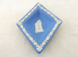 Trinket Dish, Pin Dish, Light Blue Wedgwood Jasper Diamond Shaped Dresse... - $8.77