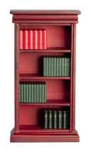 DOLLHOUSE MINIATURES MAHOGANY BOOKSHELF WITH BOOKS #91661 - $19.40
