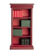 DOLLHOUSE MINIATURES MAHOGANY BOOKSHELF WITH BOOKS #91661 - $19.40