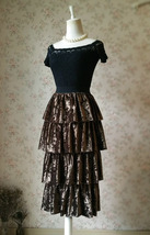 Vintage Velvet Tiered Long Party Skirt Ball Skirt Elastic Waist One Size image 2
