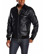 Members Only Men's Big and Tall Vegan Leather Iconic Racer Jacket, Black... - $73.31