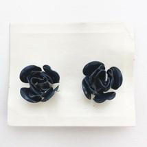 Vintage Enamel Clip On Earrings Blue Roses by Coro Costume Jewelry - $12.43