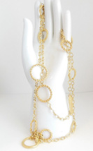 Vintage Joan Rivers Long Gold Tone Necklace Oblong Round Circles 42 to 45 Inches - $29.95