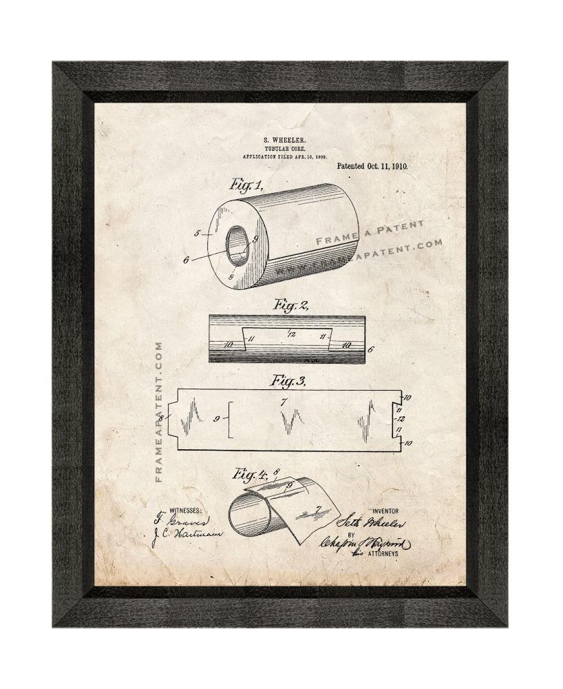 Primary image for Tubular Core of Toilet Paper Roll Patent Print Old Look with Beveled Wood Frame
