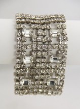 80s VINTAGE Jewelry TEN ROW ICE RHINESTONE BRACELET EMERALD CUT & CHATON... - $95.00