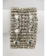 80s VINTAGE Jewelry TEN ROW ICE RHINESTONE BRACELET EMERALD CUT & CHATON... - $95.00